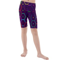 Color Bee Hive Pattern Kids  Mid Length Swim Shorts by Amaryn4rt