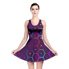 Color Bee Hive Pattern Reversible Skater Dress by Amaryn4rt