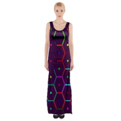 Color Bee Hive Pattern Maxi Thigh Split Dress by Amaryn4rt