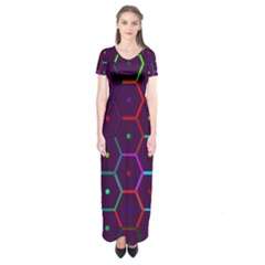 Color Bee Hive Pattern Short Sleeve Maxi Dress by Amaryn4rt