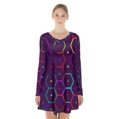 Color Bee Hive Pattern Long Sleeve Velvet V Neck Dress by Amaryn4rt
