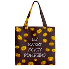 Scary Sweet Funny Cute Pumpkins Hallowen Ecard Grocery Tote Bag by Amaryn4rt