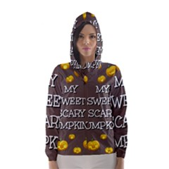 Scary Sweet Funny Cute Pumpkins Hallowen Ecard Hooded Wind Breaker (women) by Amaryn4rt