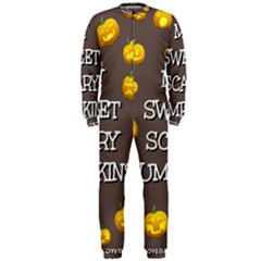 Scary Sweet Funny Cute Pumpkins Hallowen Ecard Onepiece Jumpsuit (men)  by Amaryn4rt