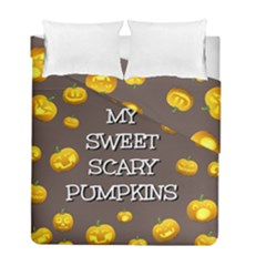 Scary Sweet Funny Cute Pumpkins Hallowen Ecard Duvet Cover Double Side (full/ Double Size) by Amaryn4rt