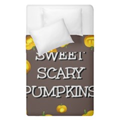 Scary Sweet Funny Cute Pumpkins Hallowen Ecard Duvet Cover Double Side (single Size) by Amaryn4rt