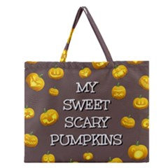 Scary Sweet Funny Cute Pumpkins Hallowen Ecard Zipper Large Tote Bag by Amaryn4rt