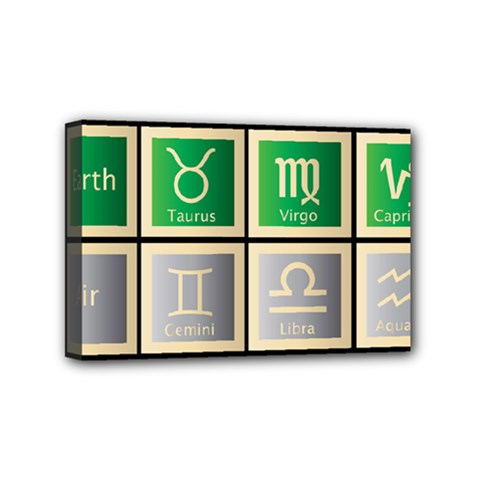 Set Of The Twelve Signs Of The Zodiac Astrology Birth Symbols Mini Canvas 6  X 4  by Amaryn4rt