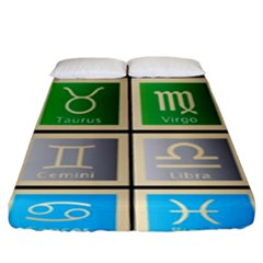 Set Of The Twelve Signs Of The Zodiac Astrology Birth Symbols Fitted Sheet (king Size) by Amaryn4rt