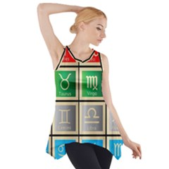 Set Of The Twelve Signs Of The Zodiac Astrology Birth Symbols Side Drop Tank Tunic by Amaryn4rt