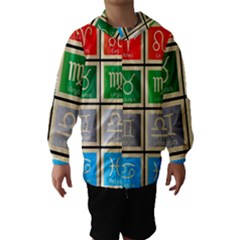 Set Of The Twelve Signs Of The Zodiac Astrology Birth Symbols Hooded Wind Breaker (kids) by Amaryn4rt