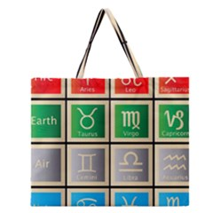 Set Of The Twelve Signs Of The Zodiac Astrology Birth Symbols Zipper Large Tote Bag by Amaryn4rt