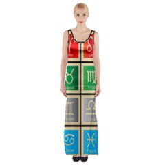 Set Of The Twelve Signs Of The Zodiac Astrology Birth Symbols Maxi Thigh Split Dress