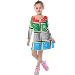 Set Of The Twelve Signs Of The Zodiac Astrology Birth Symbols Kids  Long Sleeve Velvet Dress by Amaryn4rt