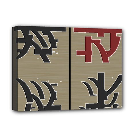 Xia Script On Gray Background Deluxe Canvas 16  X 12   by Amaryn4rt