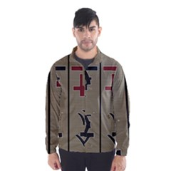 Xia Script On Gray Background Wind Breaker (men) by Amaryn4rt