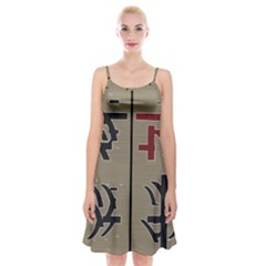 Xia Script On Gray Background Spaghetti Strap Velvet Dress by Amaryn4rt