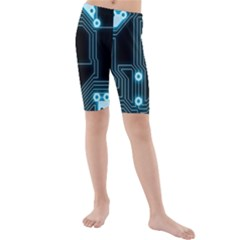 A Completely Seamless Background Design Circuitry Kids  Mid Length Swim Shorts by Amaryn4rt
