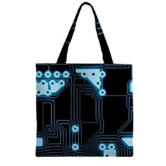A Completely Seamless Background Design Circuitry Zipper Grocery Tote Bag by Amaryn4rt