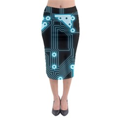 A Completely Seamless Background Design Circuitry Midi Pencil Skirt by Amaryn4rt