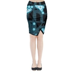A Completely Seamless Background Design Circuitry Midi Wrap Pencil Skirt by Amaryn4rt