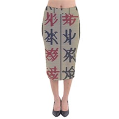 Ancient Chinese Secrets Characters Velvet Midi Pencil Skirt by Amaryn4rt