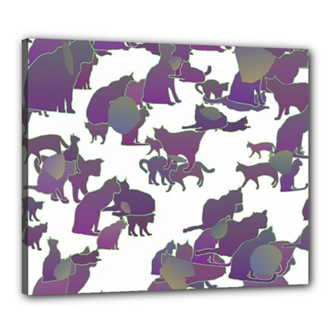 Many Cats Silhouettes Texture Canvas 24  X 20  by Amaryn4rt