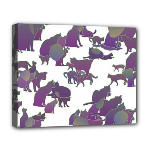 Many Cats Silhouettes Texture Deluxe Canvas 20  X 16   by Amaryn4rt
