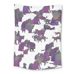 Many Cats Silhouettes Texture Medium Tapestry by Amaryn4rt