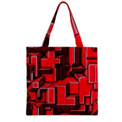 Background With Red Texture Blocks Grocery Tote Bag