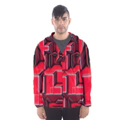 Background With Red Texture Blocks Hooded Wind Breaker (men)