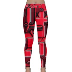 Background With Red Texture Blocks Classic Yoga Leggings by Amaryn4rt