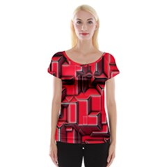 Background With Red Texture Blocks Women s Cap Sleeve Top by Amaryn4rt