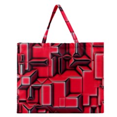 Background With Red Texture Blocks Zipper Large Tote Bag by Amaryn4rt