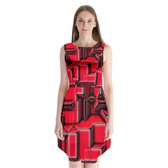 Background With Red Texture Blocks Sleeveless Chiffon Dress   by Amaryn4rt
