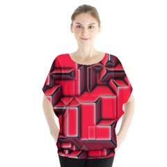 Background With Red Texture Blocks Blouse by Amaryn4rt