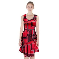 Background With Red Texture Blocks Racerback Midi Dress by Amaryn4rt