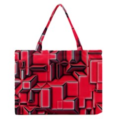 Background With Red Texture Blocks Medium Zipper Tote Bag by Amaryn4rt