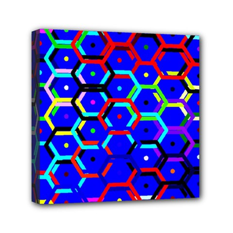 Blue Bee Hive Pattern Mini Canvas 6  X 6  by Amaryn4rt