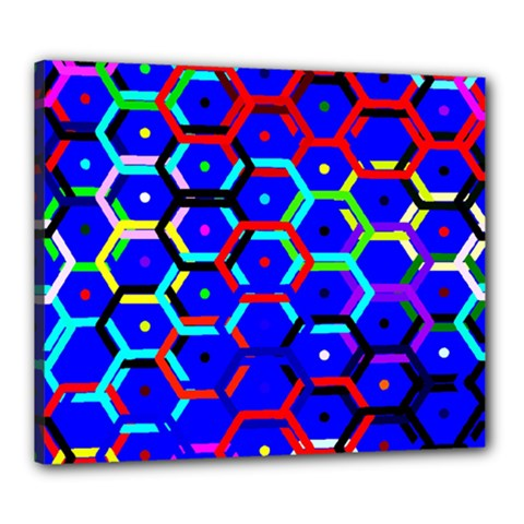 Blue Bee Hive Pattern Canvas 24  X 20  by Amaryn4rt