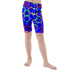 Blue Bee Hive Pattern Kids  Mid Length Swim Shorts by Amaryn4rt