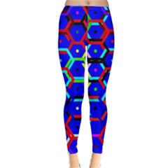 Blue Bee Hive Pattern Classic Winter Leggings by Amaryn4rt