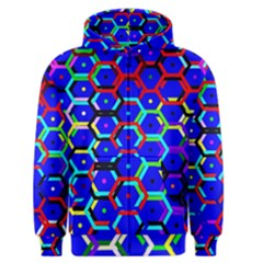 Blue Bee Hive Pattern Men s Zipper Hoodie by Amaryn4rt