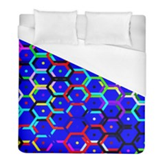 Blue Bee Hive Pattern Duvet Cover (full/ Double Size) by Amaryn4rt