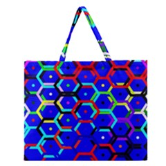 Blue Bee Hive Pattern Zipper Large Tote Bag by Amaryn4rt