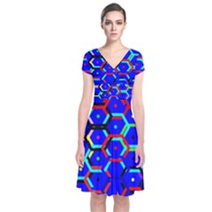 Blue Bee Hive Pattern Short Sleeve Front Wrap Dress by Amaryn4rt