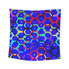 Blue Bee Hive Pattern Square Tapestry (small) by Amaryn4rt