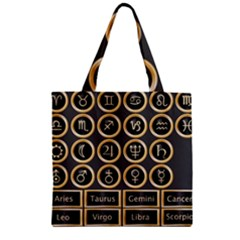 Black And Gold Buttons And Bars Depicting The Signs Of The Astrology Symbols Zipper Grocery Tote Bag by Amaryn4rt