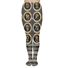 Black And Gold Buttons And Bars Depicting The Signs Of The Astrology Symbols Women s Tights by Amaryn4rt