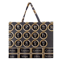 Black And Gold Buttons And Bars Depicting The Signs Of The Astrology Symbols Zipper Large Tote Bag by Amaryn4rt
